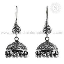 Ravishing Dangle Jhumka Earrings For Girls Wholesale 925 Sterling Silver Jewelry Supplier