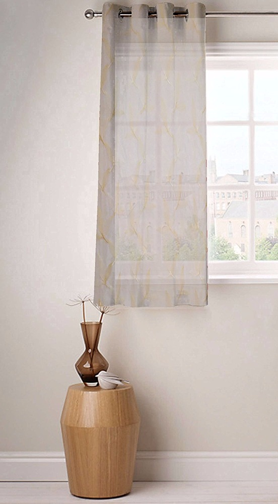Fabutex Sheer Embroidery 1 Pc Window curtains (46x60 inches) White and cream color