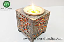 DECORATIVE SOAPSTONE MARBLE CANDLE HOLDER