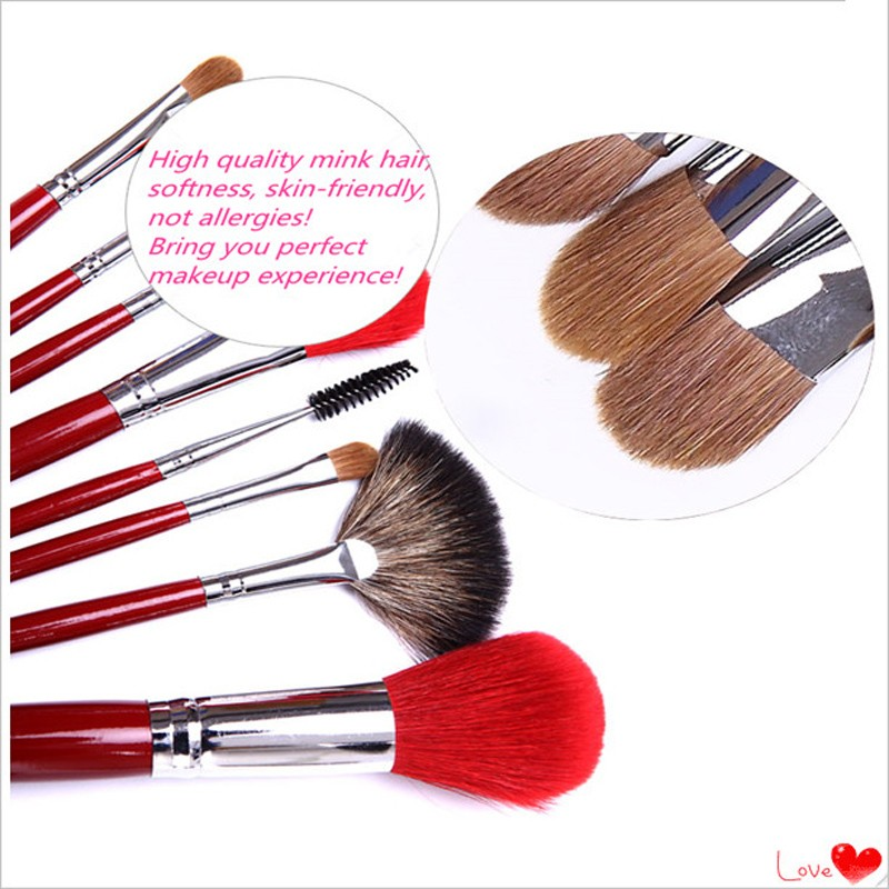 21pcs wood handle red Kolinsky sable hair quality makeup brush set with makeup brush case kits