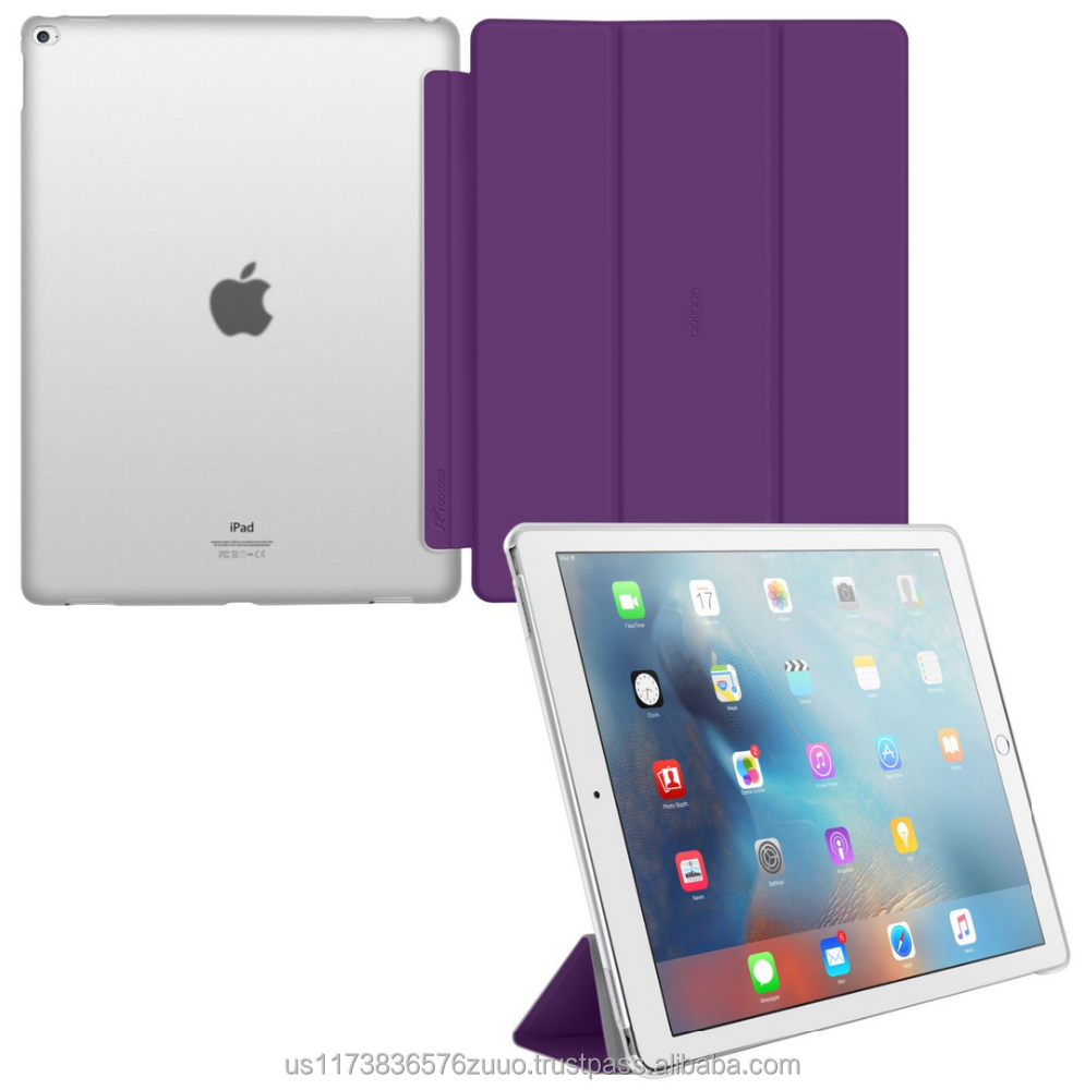 Ultra Slim Lightweight Smart Cover PC Shell Clear Case Magnetic Auto Sleep Wake for iPad Pro 12.9 roocase Optigon (purple)