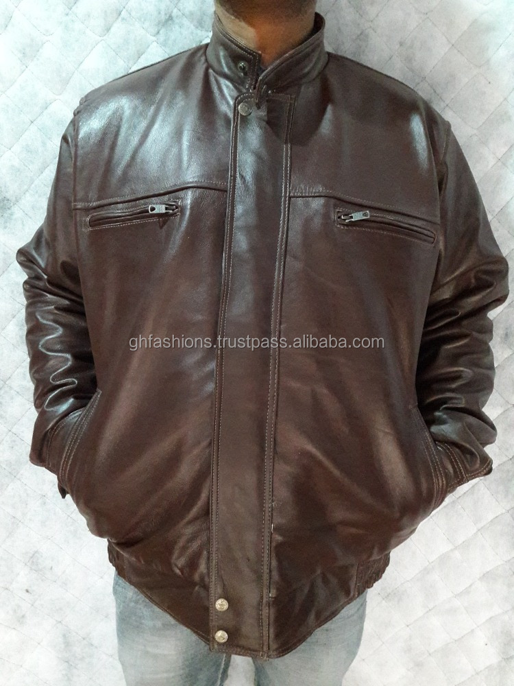 Designer Brown Genuine Leather Jackets for Men 2017