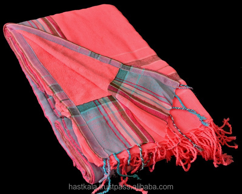 Azo Free & Fast Colors 100% Cotton Yarn Dyed Woven Handloom Kikoy Towel for Magazine & Newspaper Promotion