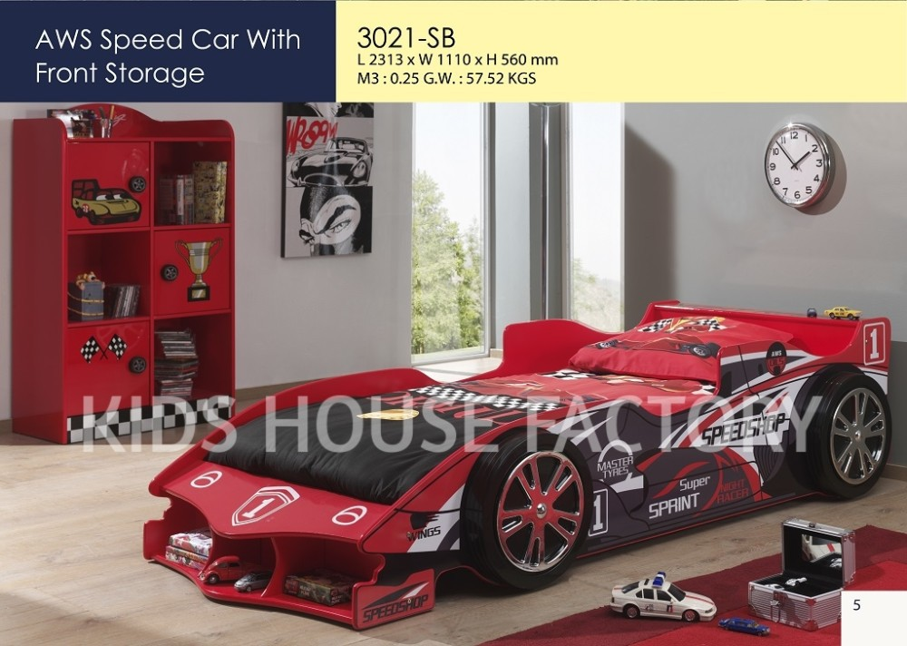 Red Racing Car Bed with Front Storage, AWS Speed Car with Front Storage