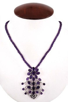 "16"" Long 1 Strand Amethyst 3-4mm Gemstone Beads Necklace in Beijing"