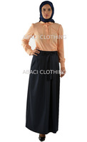 2015 new season maxi long skirt made in turkey istanbul with self fabric belt