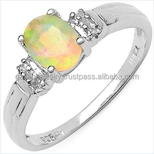 0.47 Carat Genuine Ethiopian Opal and White Diamond Gold Ring