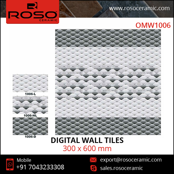 Gloss Finish Sleek Design Exterior / Interior Kitchen Digital Wall Tiles