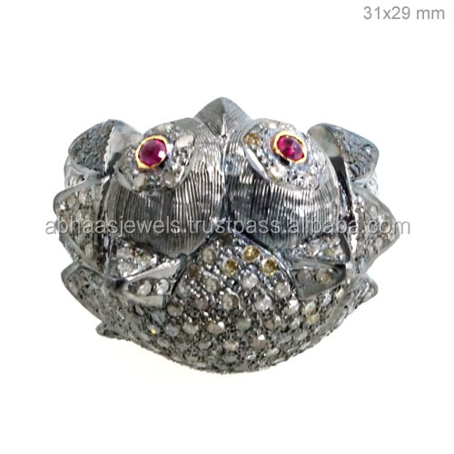 Diamond Vintage Style Half Finger Ring, 925 Sterling Silver Ruby Owl Shape Ring Jewelry