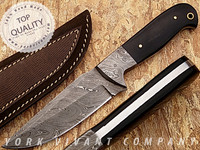 York Vivant-Custom Handmade Damascus Steel fixed blade skinner Knife YVS-10 BUFFALO HORN + DAMASCUS STEEL HANDLE