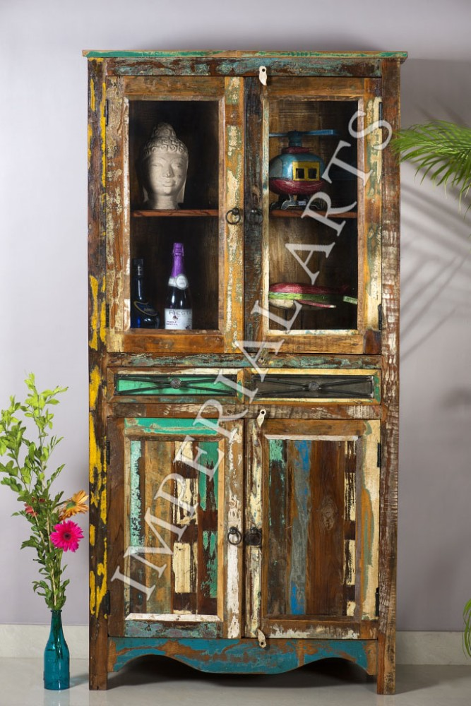 ANTIQUE RECYCLE WOOD GLASS DISPLAY CABINET,FOR HOME FURNITURE
