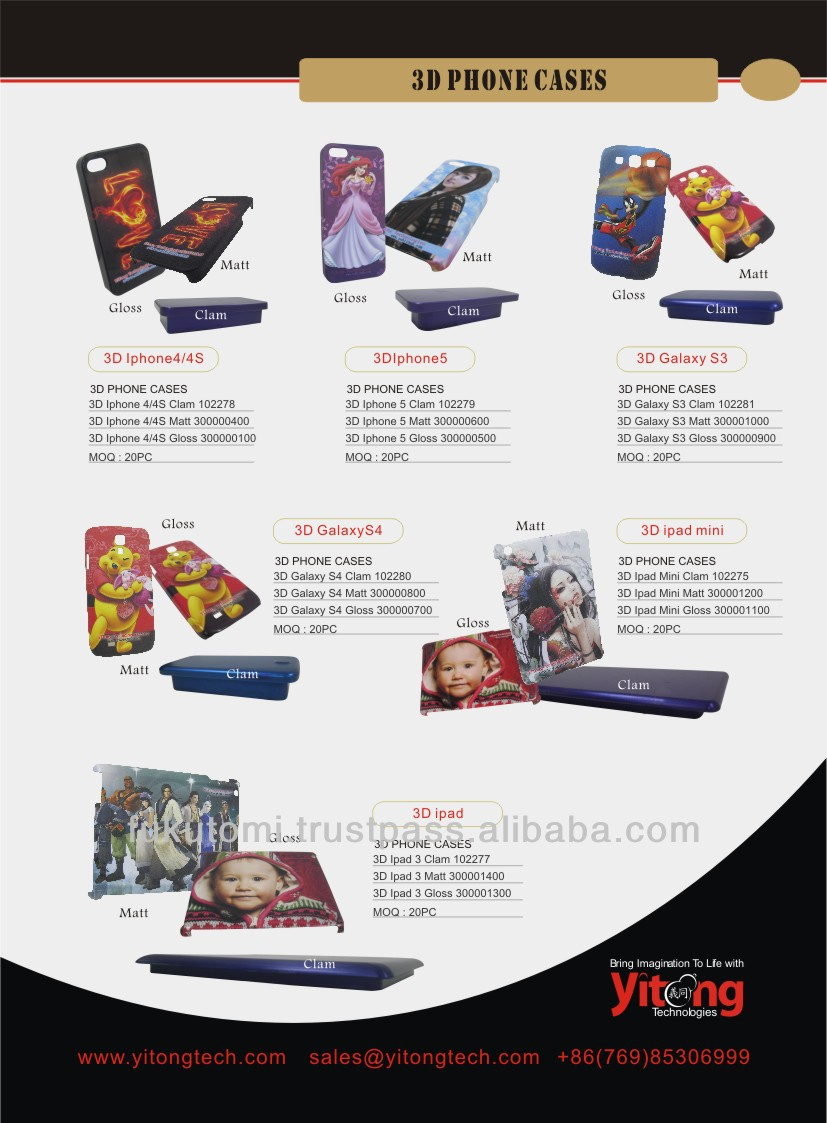 3D Sublimation phone case for I4/4S