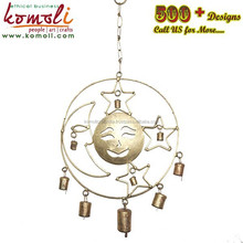 Iron craft sun moon star rustic bells indoor wind chimes for home garden