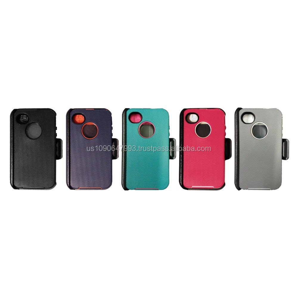 4/4S heavy duty hybrid case w/Belt Clip & screen protector