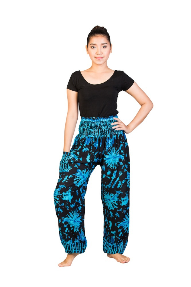 Blue black tie dye Yoga pants loose fit Smocked Waist Comfy Bohemian Thai Pants summer festival pants