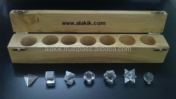 Crystal Quartz 7pcs Geometry Set with Wooden Box : Khambhat Platonic Solid Crystals