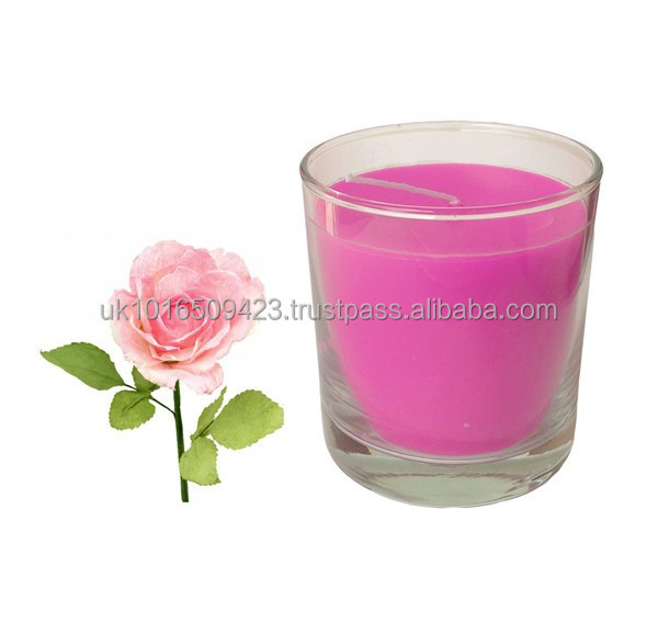 Rose Scented Soy Wax Glass Candle 380g
