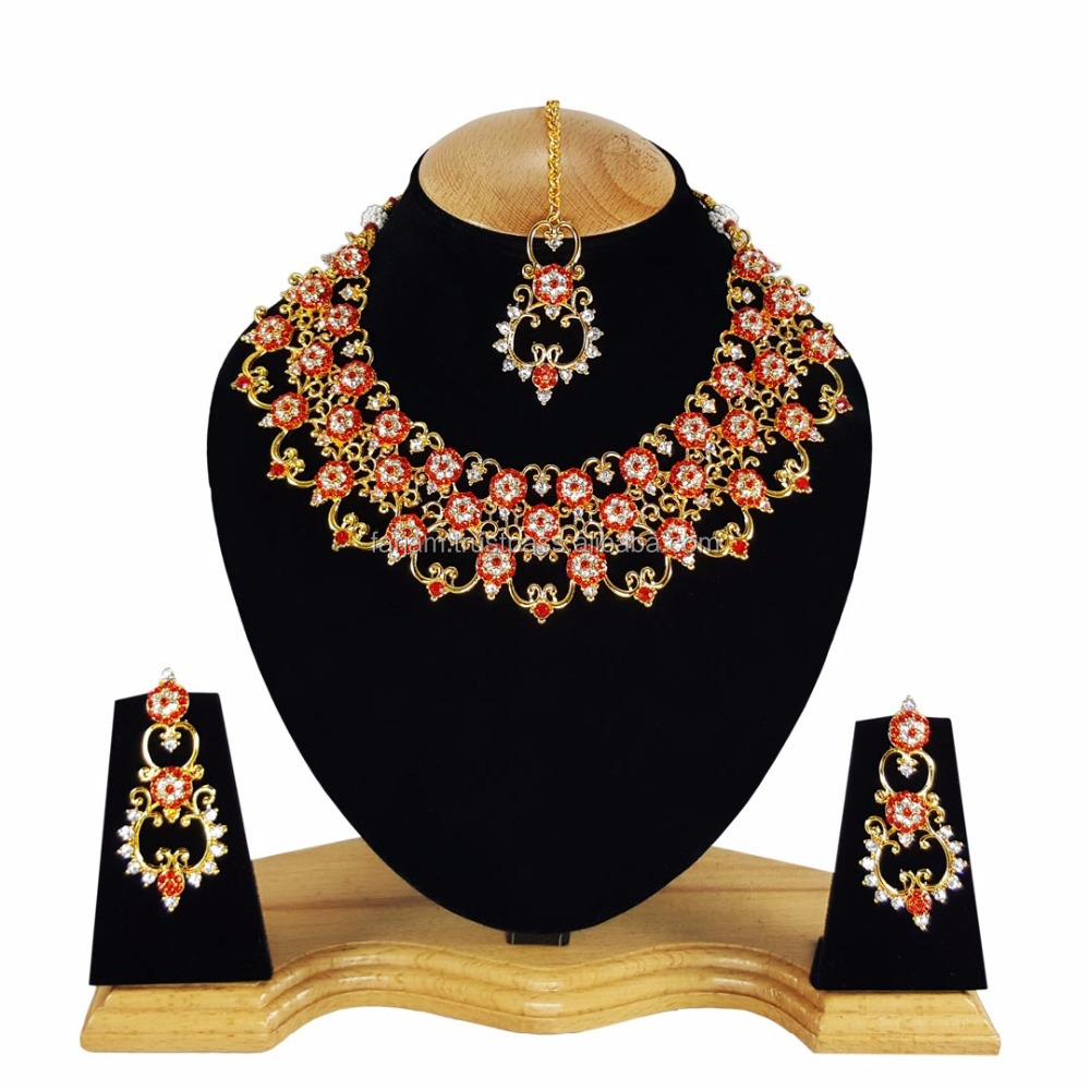 Designer Gold Plated Bollywood Party wear Kundan Zerconic Jewelry Necklace Set Red Color