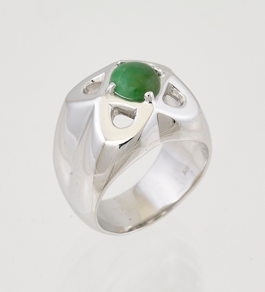 Green Jade design 3.0CT 9K White Gold Rings 925 Silver Sterling Size 5-13 Diamond &Gems