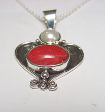 Pendant with chain pearl and coral combination