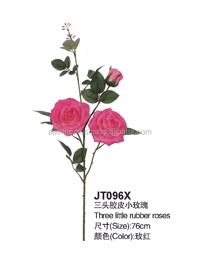 Artificial flowers used for decoration 3 heads rose flowers artificial