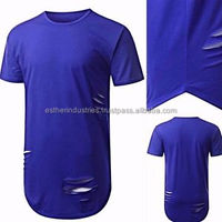 New Fashion Blue Ripped Tees Hip Hop Mens Slate Curved Oversized T Shirt Summer Style t shirt