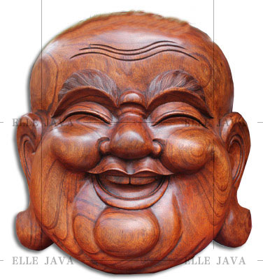 Wooden Craft Buddha Carving Happy buddha mask