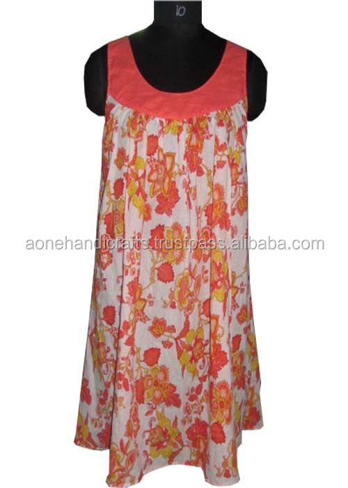 ladies printed short sleeve cotton fabric dress