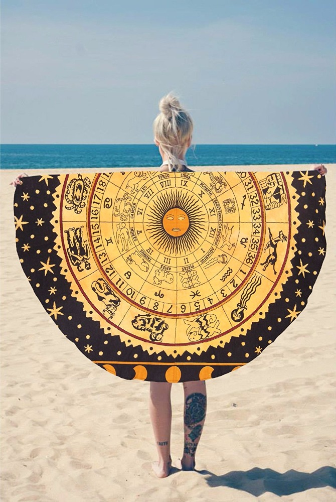 "Indian Organic Cotton 48"" Round Beach Blanket Colored With Vegetable Dyes To Create A Vibrant Round Zodiac Tapestry"