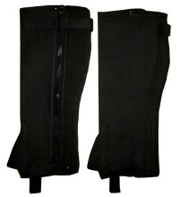 Mini Chaps Half chaps HORSE RIDING HALF CHAPS BLACK AMARA SYNTHETIC LEATHER-ALL SIZES