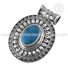 Prominent Arizona Turquoise Gemstone Silver Pendant Indian 925 Sterling Silver Jewelry Handmade Silver Pendant Exporters