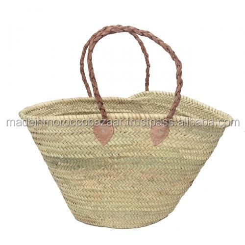 Trendy Handwoven Plaited Handle Natural Straw Bags