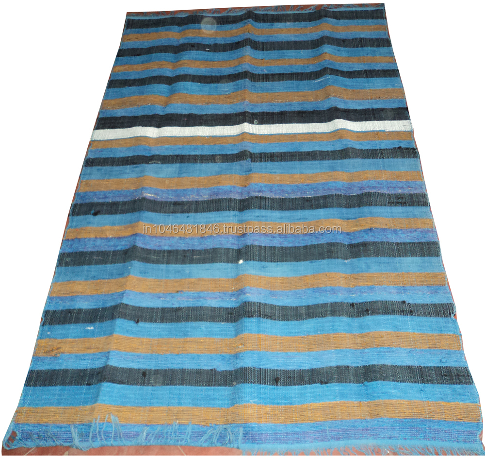 recycled area rug blue chindi rug