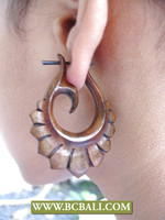 women tribal earrings piercing wooden hand carving handmade