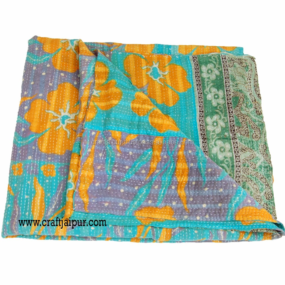 Handmade kantha quilt wholesale old silk sari stitched reversible bedspread