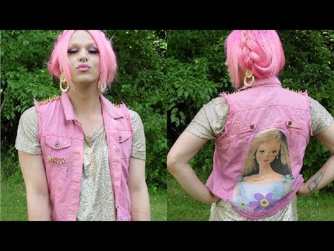 DIY Dyed & Studded Barbie Denim Vest