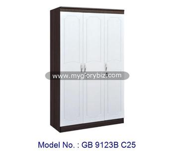 Classic Simple Design Elegant White MDF Wardrobe Bedroom Furniture With 3 Doors In MDF + PVC Membrane