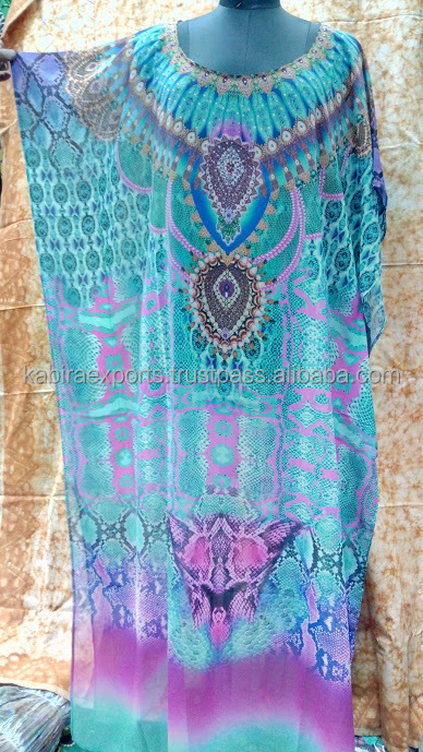 Digitally Printed Embellished Kaftan (54 inches)