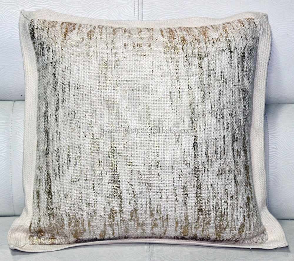 Weaved Heavy Cotton - Linen look Foiled Cushion Off White with self Trim - 18 inch sq.