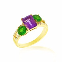 Yellow Gold Silver Ring featuring Purple Amethyst, Green Chrome Diopside, Pink Sapphire and Premium Cubic Zirconia
