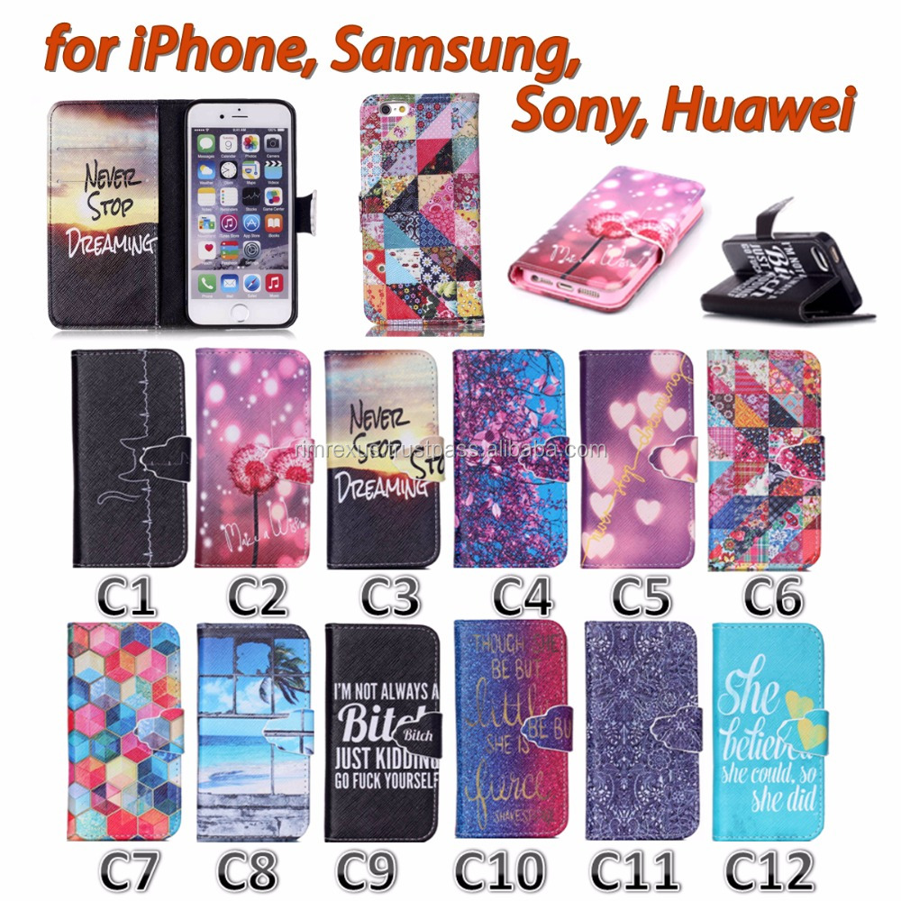 Painting Cover Silicon PU Leather Case for iPhone Flip Book Style Stand with Card Holder for Samsung