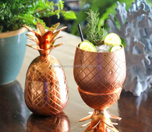 Rose gold Copper drinking cocktail Pineapple mug, Pineapple mug silver shiny color, Gold Brass