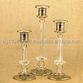 3 Tier Candle Holder Tall Glass Long-Stemmed Glass Candle Holder