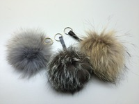 fox fur ball key chain/fox fur pom poms