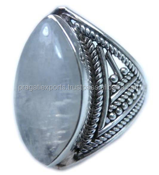 Glorious Semi Precious Rainbow Moonstone 925 Sterling Silver Ring