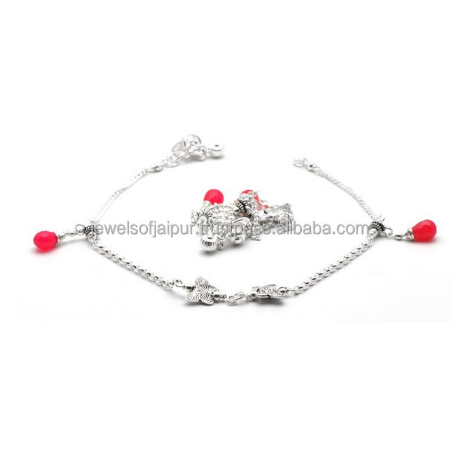 Exclusive Design Indian Wholesale Fashionable Beaded Silver Anklet Everyday/Party Wear For Girls/Womens