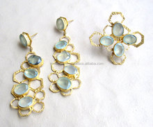 Set Of Earring And Ring Of Blue Chalcedony Honey Comb Style