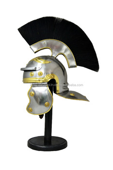 Roman Centurian Helmet Medieval Knight Armour Costume With Black Plume