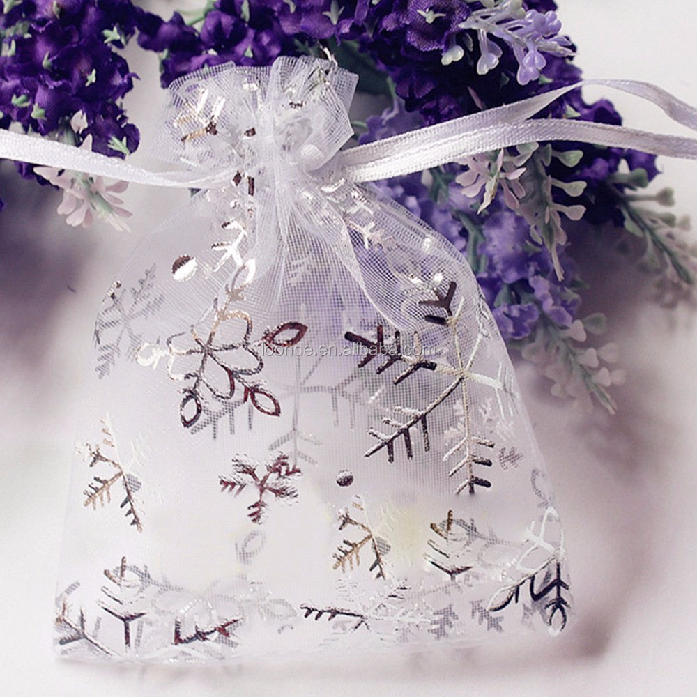 Little white snowflake christmas organza gift bag or event bonbonniere bags