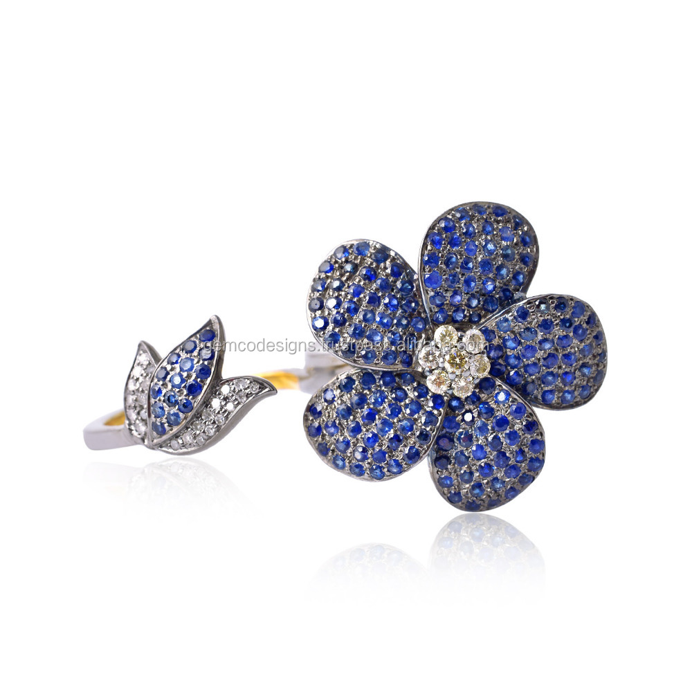 Blue Sapphire Gemstone Flower Shape Design Two Finger Ring 18k Gold Pave Diamond Jewelry